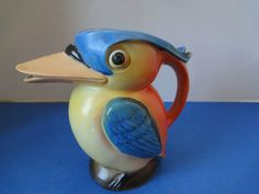 "PITCHER, TOUCAN, STUNNING VINTAGE PITCHER MADE IN GERMANY 5-1/2"" HIGH"