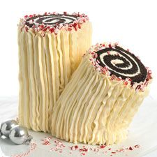 Chocolate and Peppermint Yule Log – This festive cake features dark chocolate, white chocolate, and peppermint.