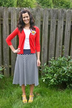 cuteness... Stripes w/ Yellow Shoes and Red Cardigan