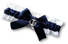 Wedding Garter SINGLE or SET , beautiful navy and white Nautical themed garter