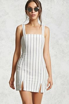 A woven dress featuring an allover striped print, a formfitting silhouette, a straight-cut neckline, Mode Outfits, Skirt Outfits, Fashion Outfits, Cute Casual Outfits, Summer Outfits, Summer Dresses, Casual Party Dresses, Summer Wear, Casual Dresses For Women