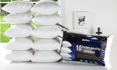 Pack of 16 Better Dreams Hotel-Quality Pillows Hotel Quality Pillows, House Decoration Items, Yellow Home Accessories, Discount Home Decor, Comfortable Pillows, Memory Foam Mattress Topper, Inexpensive Home Decor, Support Pillows, Home Decor Online