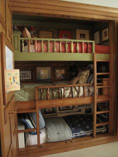 Bunk room built in closet. I think two bunks would be better than three.