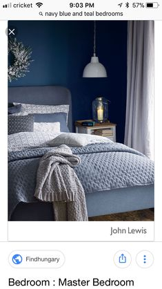 Best Modern Blue Bedroom for Your Home - bedroom design inspiration - bedroom design styles - bedroom furniture ideas - A modern motif for your bedroom can be merely achieved with strong blue wallpaper in an abstract style and formed bedlinen. Dark Blue Bedrooms, Navy Bedrooms, Blue Rooms, Bedroom With Blue Walls, Blue Purple Bedroom, Peach Bedroom, Small Bedrooms, Grey Walls, Winter Bedroom