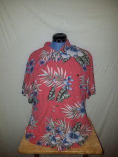 1b81c96b Island Shores XL Multi-Color Washable Silk S/S Mens Hawaiian Floral Button  Up