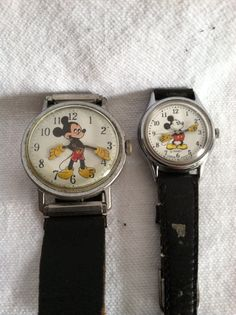 Vintage Mickey Mouse Watches with Original Black Leather Bands on Etsy, $175.00