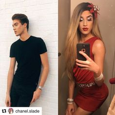 #Repost @chanel.slade with @get_repost #transformationtuesday whats black white & red all over? #boytogirl #maletofemale #makeuptransformation #beforeandafter