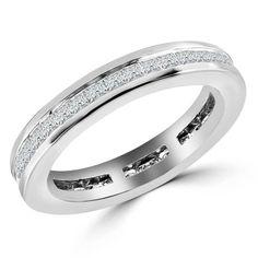 1 CTW Princess Cut Diamond Eternity Wedding Anniversary Band Ring in 14k White Gold - $1,119.00