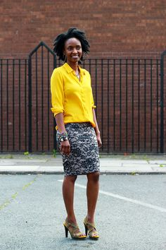 long-sleeved-yellow-blouse-with-pencil-skirt,Pencil skirt, bodycon pencil skirt, bodycon skirt, floral pencil skirt, streamline pencil skirt, yellow blouse, yellow top, yellow long sleeved top, yellow long sleeved bloused, folded long sleeved top, folded long sleeved blouse, folded yellow long sleeved top, folded yellow long sleeved blouse, folded sleeved blouse, folded sleeves top, bandeau skirt, bandeau  pencil skirt, floral skirt, strappy sandals with neon yellow sole, multicoloured cuff