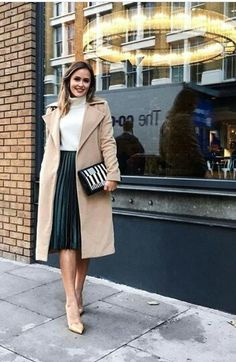 White turtleneck sweater, green, pleated midi skirt and camel coat rocktheceilin … Modest Outfits, Classy Outfits, Modest Fashion, Fall Outfits, Casual Outfits, Fashion Outfits, Modest Wear, Apostolic Fashion, Modest Clothing