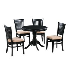 M&D Furniture 5 Piece Brookline Dining Set at Lowe's. Dine in style with this Brookline 5 Piece Solid Wood Dining Set. The combination of modern and contemporary yet round dining table is perfect for creating Wood Table Bases, Solid Wood Table Tops, Solid Wood Dining Set, Round Dining Table, Dining Area, Black Dining Room Sets, Small Kitchen Table Sets, 7 Piece Dining Set, Dining Room Chairs