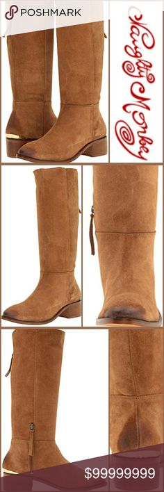 """*COMING SOON*NAUGHTY MONKEY STRIDE RIDING BOOTS Walk this way in the suede leather stride boot!  This gorgeous tan boot features a burnished toe and shiny pop of gold metal just above the heel.  Stride in comfort with a 1-3/4"""" heel, a calf circumference of 14"""", shaft height 14"""", inside zipper closure, lightly cushioned footbed and soft suede leather upper.  Feeling flirty but want to remain comfortable throughout the day⁉...The options are endless with this simple and stylish boot. NAUGHTY…"""