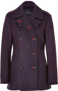 Rag & Bone Wool Battle Pea Coat in Eggplant - Lyst