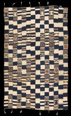 FR547 - Unique variant on a rare style of prestige wedding hanging that was woven by weavers of the Songhay ethnic group in Mali. Called arkilla jenngo these wool cloths were characterised by complex patterns executed using the tapestry weave technique set on a dark blue and white wool ground, as is the case with this cloth. However a typical arkilla jenngo would be much larger...