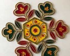 Diwali Special Beautiful Red Blue Green Kolam Alpona 11 pieces Re-Useable Kundan Rangoli Weddings New Home Rangoli Designs Images, Rangoli Designs Diwali, Rangoli Ideas, Thali Decoration Ideas, Diwali Decorations, Acrylic Rangoli, Diwali Craft, Flower Rangoli, Soul Art