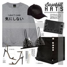 """Top Hat: Baseball Cap Style"" by palmtreesandpompoms ❤ liked on Polyvore featuring Jimmy Choo, River Island, Sonia by Sonia Rykiel, Korres, Kiki de Montparnasse, baseballcap and baseballhats"