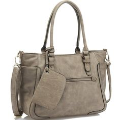 "JOYSON Women Handbags Tote Shoulder Bags Top Handle Stylish PU Leather Bags Gray. Material: Made of High-end and Durable PU Leather, Smooth and Delicate Texture, Not Easy to Deformation. Zipper Closure. Removable and Adjustable Shoulder Strap. Handbag Dimention:11.02""X4.33""X10.23"". Structure: Multi Pocket Style for Your Better Organizer, Outside with 2 Zipper Pocket (1 on the Front Side,1 on the back side),and 2 Pouches on the Both Side Not Only Make the Bag Fashion and Good-looking, But..."