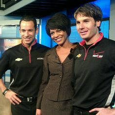 My buddy & #Detroit's Local 4 News Morning Anchor Rhonda @RhondaWalker Walker w/ Indy Car Drivers Helio @h3lio Castroneves & Will @12WillPower Power.