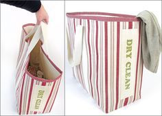 Extra-Large Wash & Dry Clean Laundry Bins | Sew4Home-These jumbo fabric baskets are so big and beautiful, they'll make sorting laundry fun! Well... if not actually fun, at least functional. And, they look great doing their job. Sparkling iron-on letters down one side let you know which items should go into the wash and which are headed to the dry cleaner...