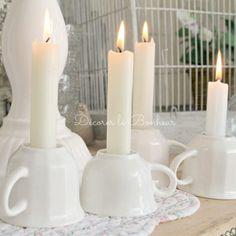Bougeoirs porcelaine tea time - Lot de 2 assortis