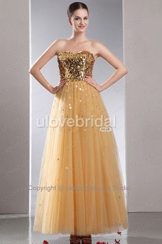 Luxury A-line Sweetheart Tulle Sequined #Evening #Dress