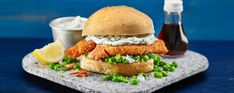 Posh fish finger butty Asda Recipes, Fish Recipes, Cooking Recipes, Finger Sandwiches, Delicious Sandwiches, Bun Kabab Recipe, Mushy Peas, Fried Chicken Recipes, Tasty