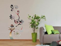 mirror sticker wall decor ideas for spacious room design - Wall Sticker Design Ideas