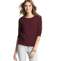 Petite Lace Front Cotton Top - Cotton lace gets luxuriously laid back when paired with cozy sweatshirt styling – the result is everyday sweet. Add a cami beneath for more coverage. Jewel neck. 3/4 sleeves. Solid back. Wide banded neckline, cuffs and hem.