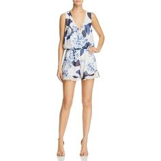 Show Me Your MuMu Floral Print Riri Romper - 100% Exclusive ($136) ❤ liked on Polyvore featuring jumpsuits, rompers, bouquet blue, floral print romper, blue floral romper, playsuit romper, white romper and blue romper