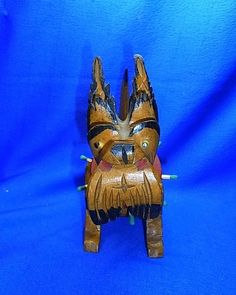 Vintage German Wood Carved Match Stick Holder Box Dog Figure #N