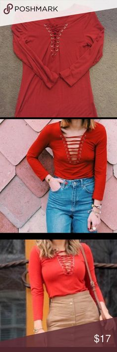 Lace Up Shirt Burgundy long sleeve lace up t-shirt. Tops Tees - Long Sleeve