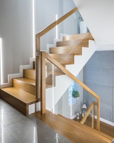 54 Best Scandinavian Stairs Design Ideas For Your Inspiration Stair Railing Design, Home Stairs Design, Stair Handrail, Stair Decor, Staircase Railings, Interior Stairs, Home Room Design, Home Interior Design, House Design