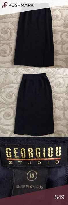 """Geogiou Studio tea length pencil skirt Size 10 Classy, black skirt with sexy offset slit. Skirt measures approx 34"""" from waist to hem, front waist 14.25"""" seam to seam when lying flat, slit measures approx 17"""". Rear zipper and hook closure. Note: missing second hook, but does not affect the fit or wear of skirt. See last picture. Georgiou Skirts"""
