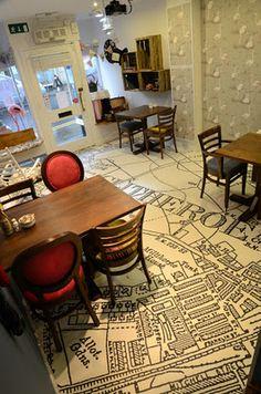 Vintage map printed onto Floorink (vinyl cushion floor with 10 yr wear guarantee) in Clitheroe's new vintage style Tearoom