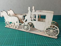 Laser cut horse and cart centrepiece by CreateALase on Etsy