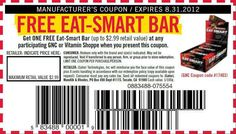 Get Free Eat-Smart Bar (up to $2.99 value) In-store Printable GNC Coupon