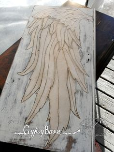 Gypsy Barn: The Angel Wing Cubby, burning, painting, texture, staining, glazing and more Angel Wings Painting, Diy Angel Wings, Angel Drawing, Angel Art, Cardboard Painting, Angel Crafts, Texture Painting, Drawings, Artwork