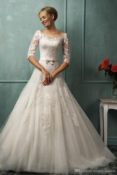 Discount Half Sleeve Wedding Party Dress Custom Made Vintage Dress Bridal Gown Ball Gown Lace Wedding Dress Backless Plus Size Dress Formal Dress E22 Online with $173.83/Piece | DHgate