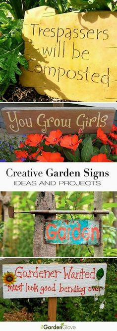 Creative DIY Garden Sign Ideas and Projects Creative Garden Sign Ideas and Projects Lots of great Ideas and Tutorials! The post Creative DIY Garden Sign Ideas and Projects appeared first on Garden Easy. Diy Garden Projects, Garden Crafts, Outdoor Projects, Art Crafts, Mosaic Projects, Unique Garden, Creative Garden Ideas, Garden Quotes, Gardening Gloves