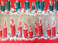 Vintage Wrapping Paper - Mod Christmas Candles Gift Wrap. $7.00, via Etsy.