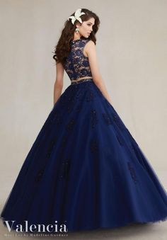 Size 4 Navy Valencia 89088 Two Piece Quinceanera Dress- BACK VIEW