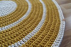 Mustard yellow round rug braided round rug nursery decor girl nursery decor boy crochet rug modern rug mustard carpet nursery rug yellow rug