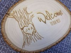 """'Welcome to our nest' welcome sign new home house, by withluvdesign, $25.00 This listing is for one 7"""" by 9"""" welcome sign. Basswood Planks have a natural bark edge which helps frame your laser artwork. These plaques are rustic, natural & each one is unique!"""