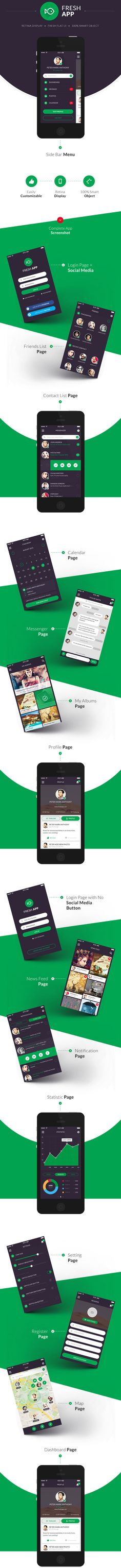 Buy Fresh Flat Mobile UI Kit by vuuuds on GraphicRiver. Point Mobile Phone App UI Kit – Flat mobile app design created using Adobe Photoshop CS. You can use this for iPhone . Web Design, App Ui Design, Flat Design, Mobile Ux, Mobile Ui Design, Iphone Mobile, Gui Interface, User Interface Design, Ui Kit