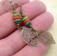 Colorful Leaf Earrings in a Long Bohemian Style