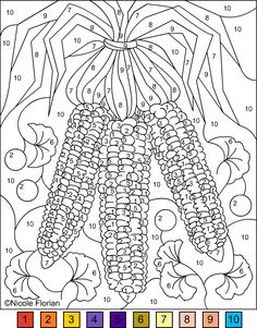 Nicole's Free Coloring Pages: COLOR BY NUMBER * INDIAN CORN&GINKGO BILOBA * COLORING PAGE