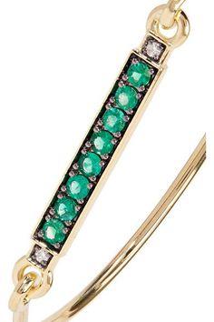 Jemma Wynne - 18-karat Gold, Emerald And Diamond Bracelet - one size