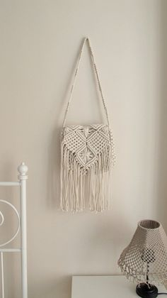 Handmade macrame hand bag Boho hand bag Medium White by WallKnot