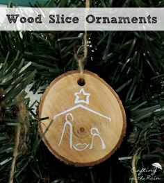 DIY Christmas Tree Ornaments from Wood Slices