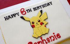 Pikachu birthday cake.  2D topper from Marshmallow Fondant.  How to make a 2D topper at:  http://caketalkblogger.blogspot.com/2014/05/mickey-cutout-cake-topper.html